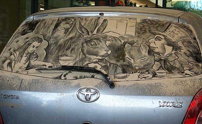 Необычное искусство на грязных машинах в исполнении Скотт Уэйда (19 фото + ВИДЕО)